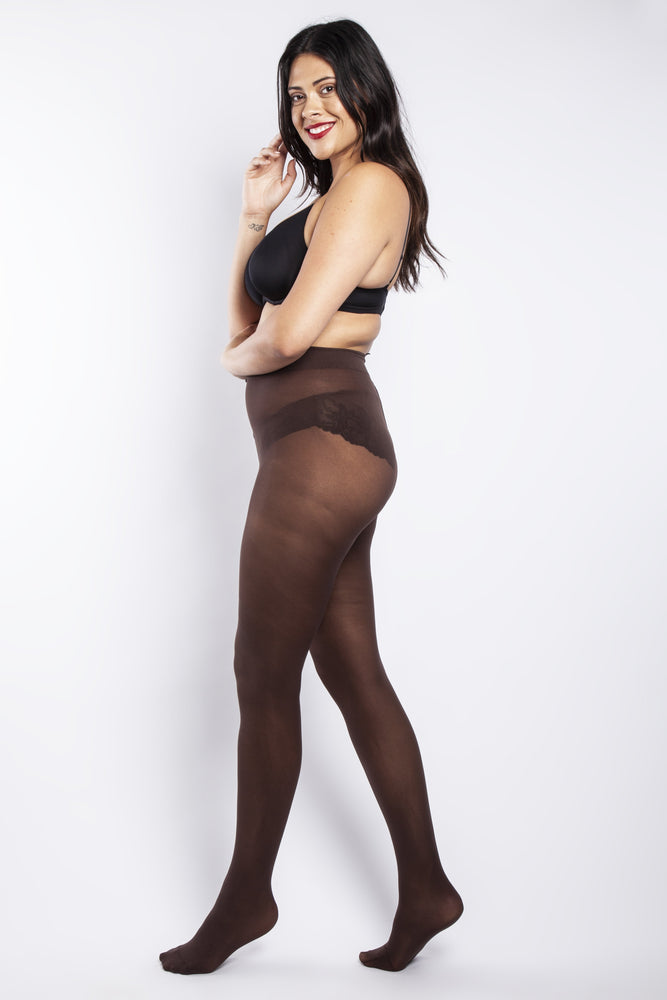 50 Denier Curvy Chocolate Tights