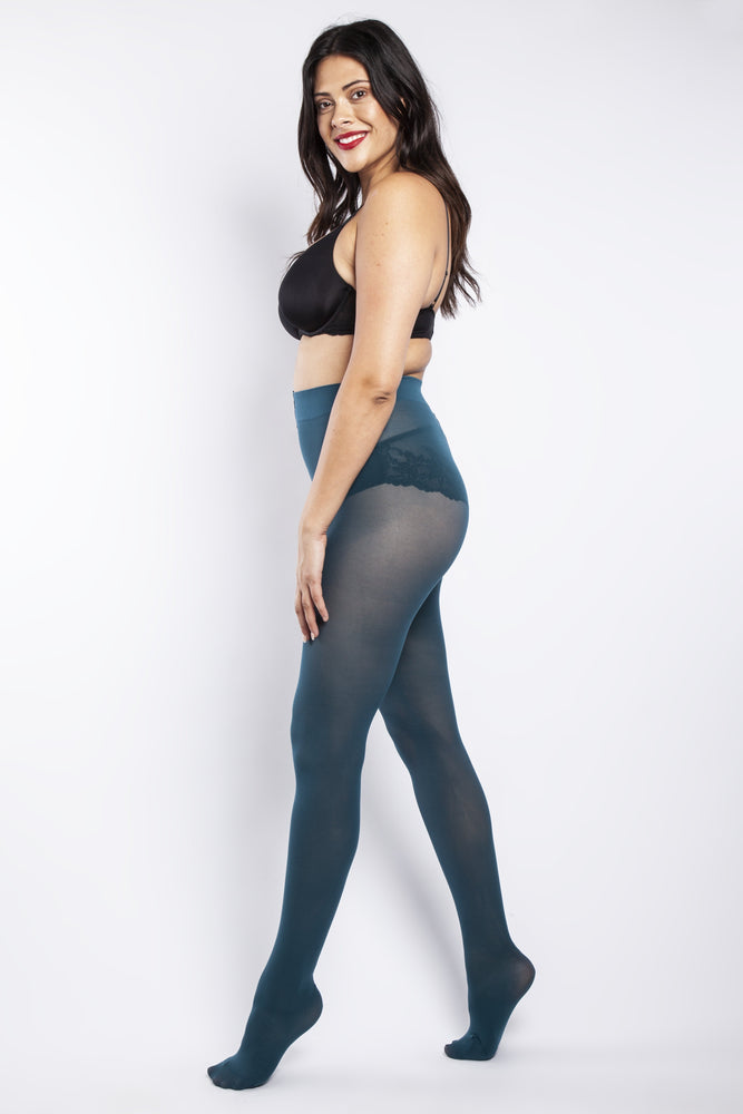 50 DENIER CURVY DARK TEAL TIGHTS