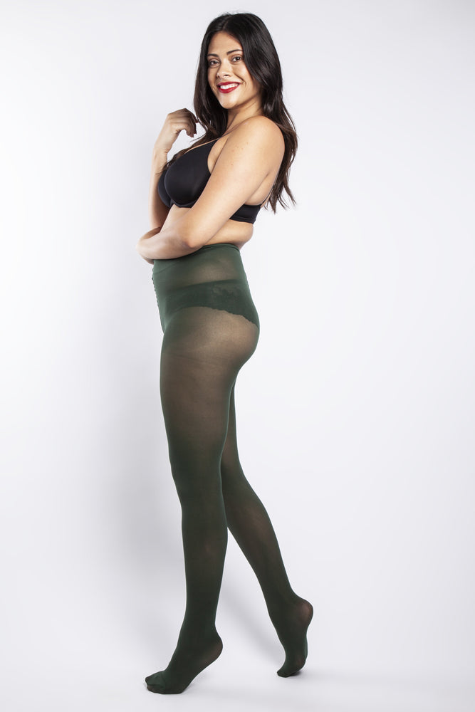 50 Denier Curvy Forest Green Tights