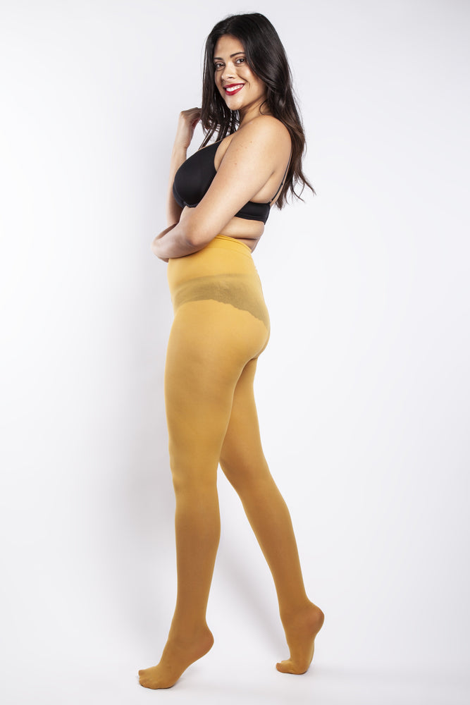 50 Denier Curvy Mustard Tights