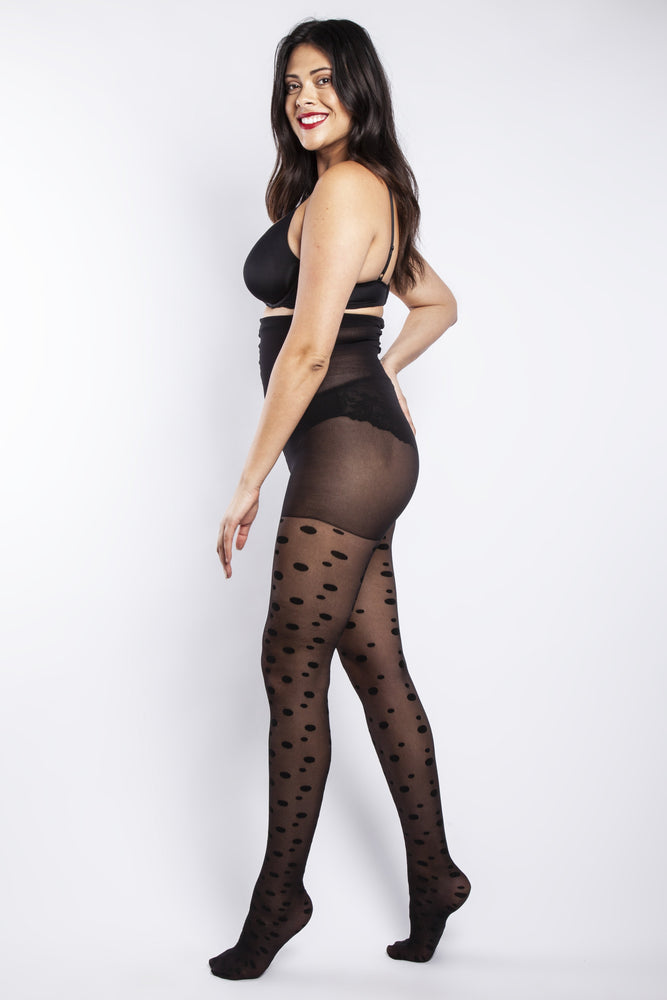 Scarlett & Jo Hosiery BLACK SPOT CURVY TIGHTS