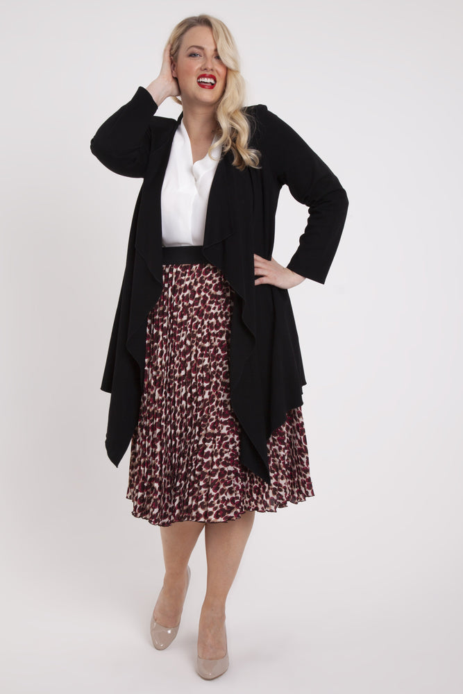 Scarlett & Jo Jackets Black / 10 Black Long Line Waterfall Jacket