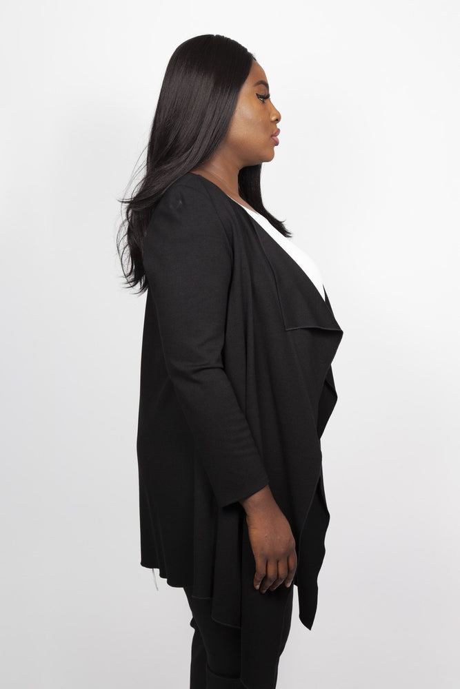 Scarlett & Jo Jackets Black / 10 Long Line Waterfall Jacket