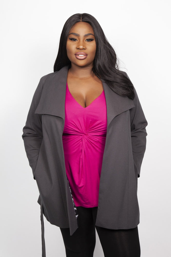 Scarlett & Jo Jackets Grey / 10 Long Line Jacket
