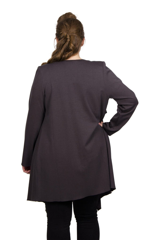 Scarlett & Jo Jackets Grey / 10 Long Line Waterfall Jacket