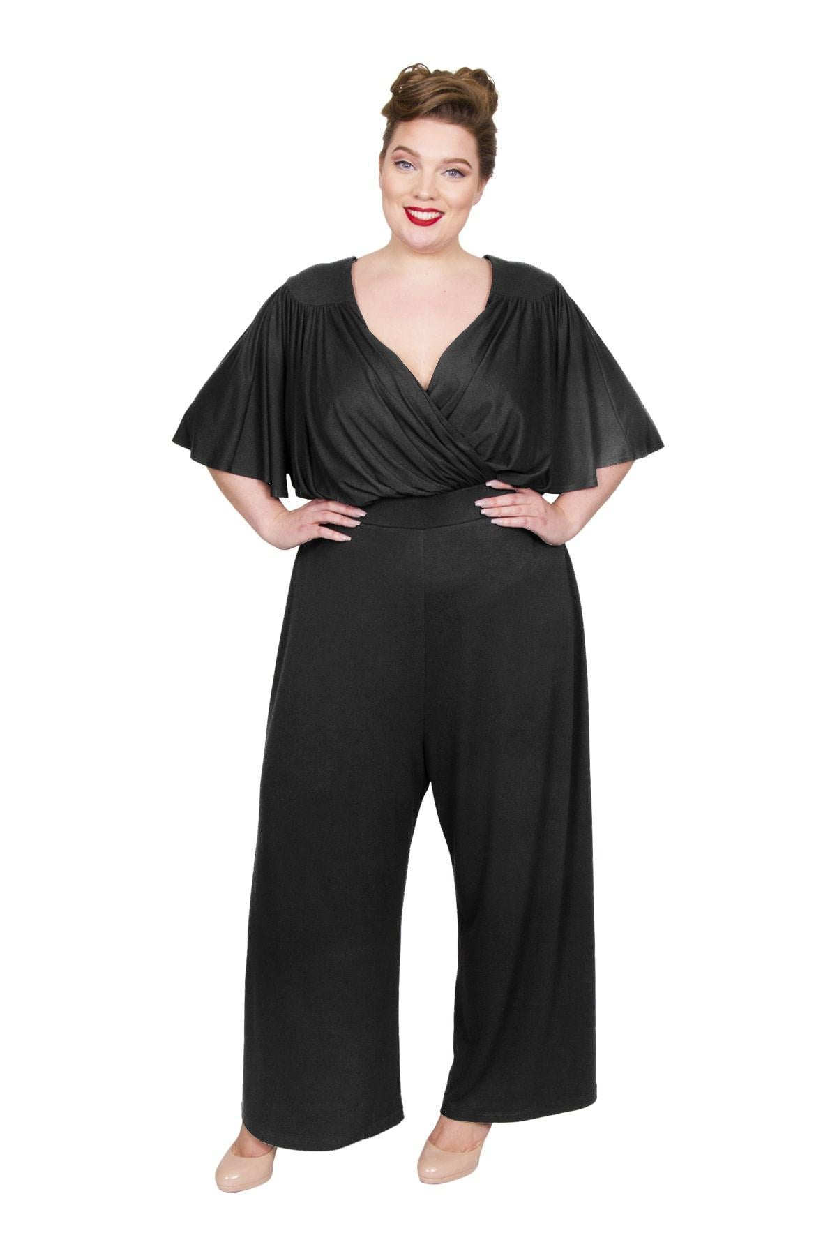 60s 70s Plus Size Dresses, Clothing, Costumes Wrap Lounge Jumpsuit - BLACK  30 �75.00 AT vintagedancer.com