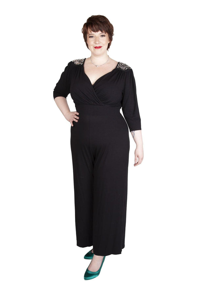 Scarlett & Jo Jumpsuits BLACK / 10 Zara Embellished Shoulder Wrap Jumpsuit