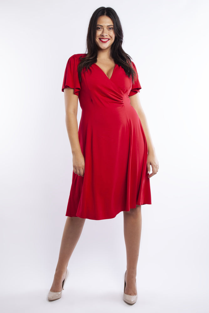 Lana Red Wrap Fit & Flare Dress