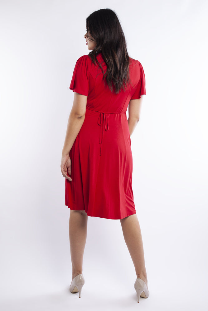 Scarlett & Jo Lana Red Wrap Fit & Flare Dress