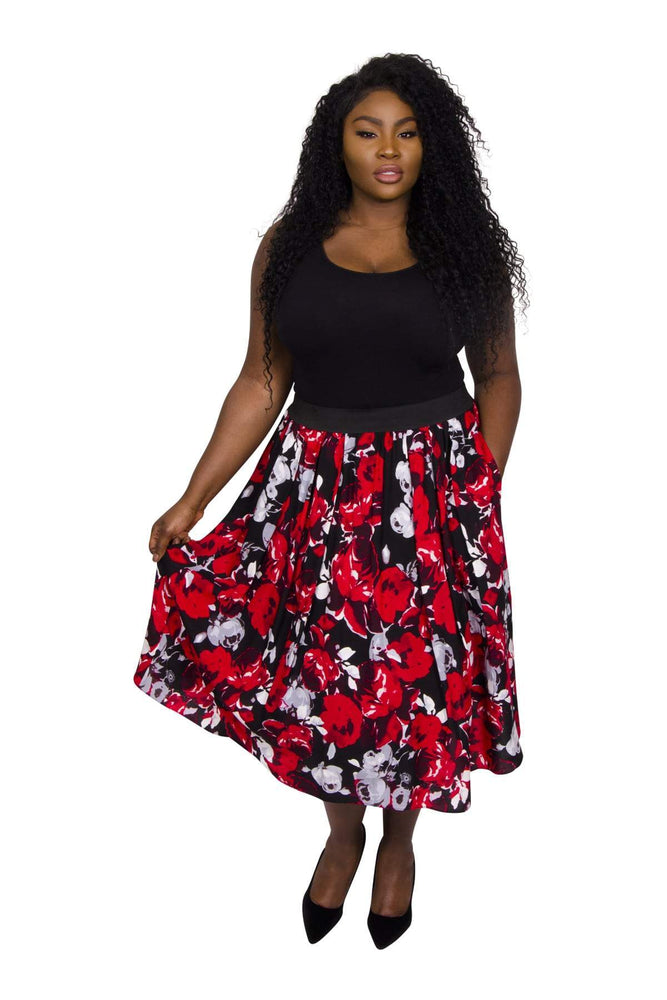 Sofia Rose Print Full Skirt