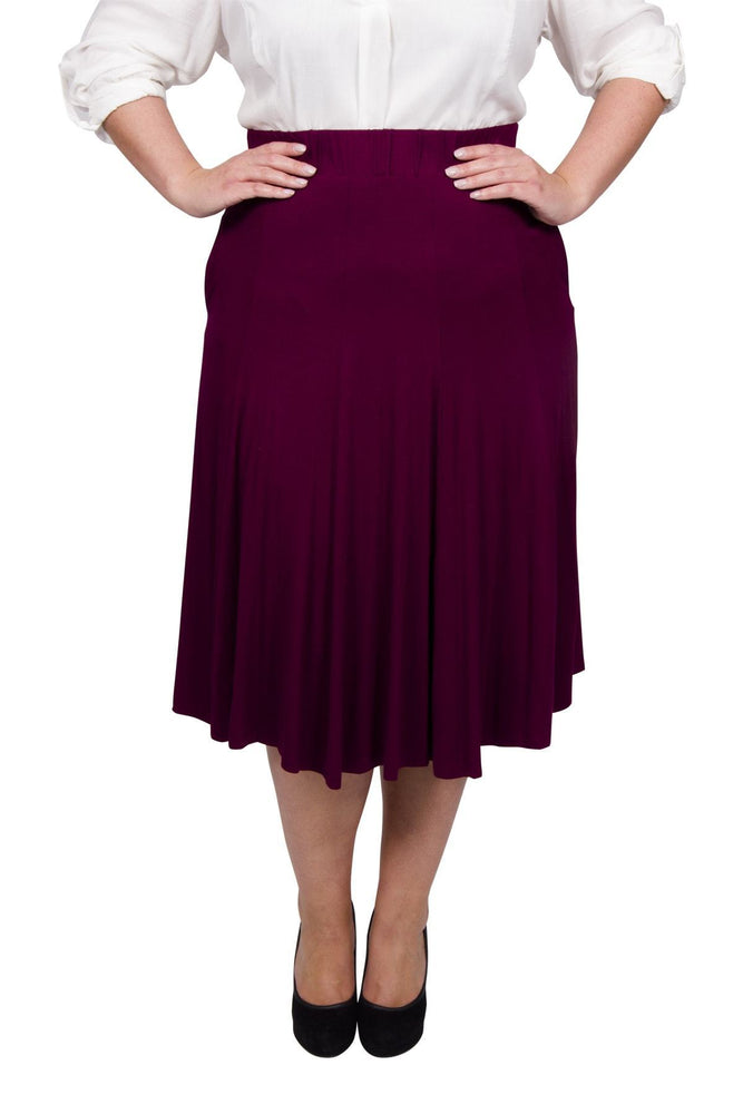 Scarlett & Jo Skirts Burgundy / 10 Panelled Jersey Skirt