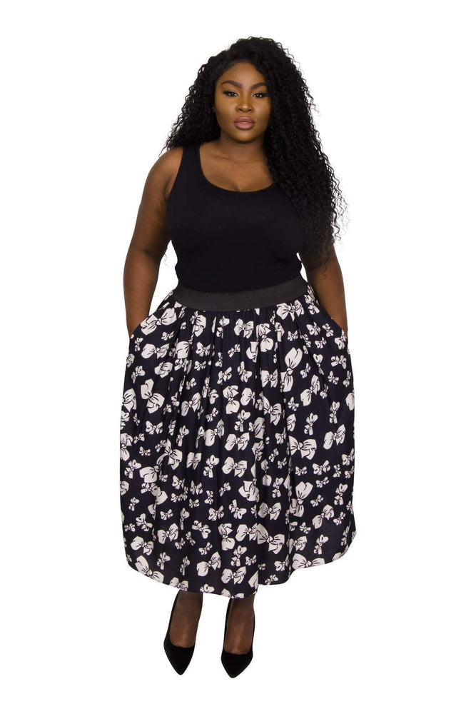 Scarlett & Jo Skirts NAVY/IVORY / 10 Original Bow Print Full Skirt