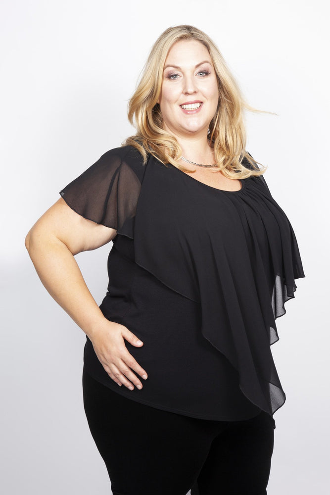 Scarlett & Jo Tops BLACK / 10 Cape Jersey Top