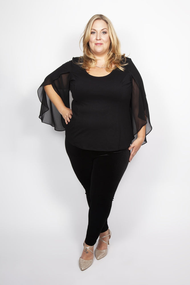 Scarlett & Jo Tops BLACK / 10 Waterfall Sleeve Blouse