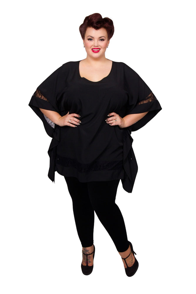 Scarlett & Jo Tops Black / 12 Lace Trim Scarf Tunic