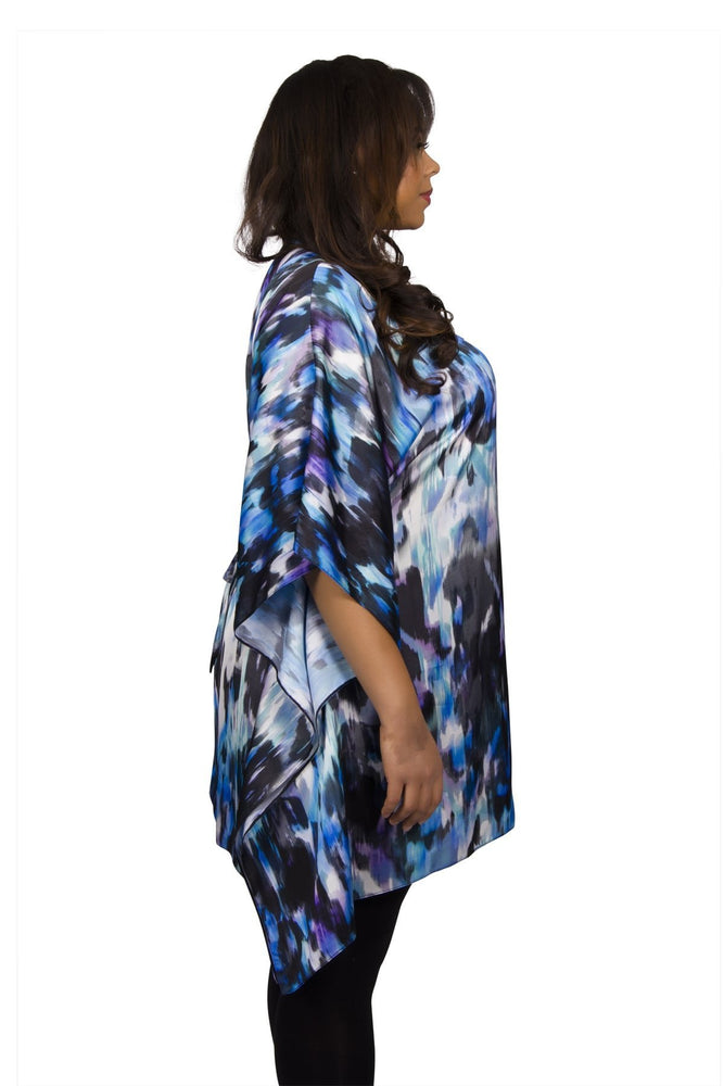 Scarlett & Jo Tops Black/Blue / 10 V Neck Scarf Tunic Top