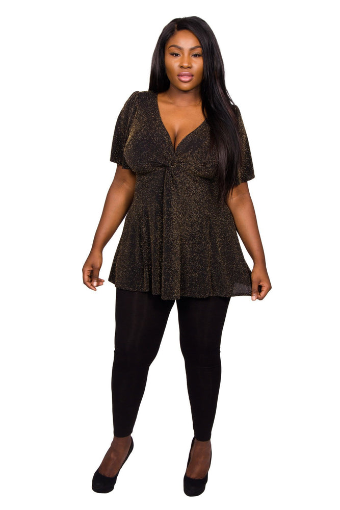Scarlett & Jo Tops Black Gold / 10 Twist Knot Lurex Tunic