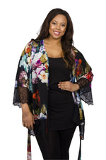 Scarlett & Jo Tops Black Multi / 10 Lace Trim Kimono Tunic