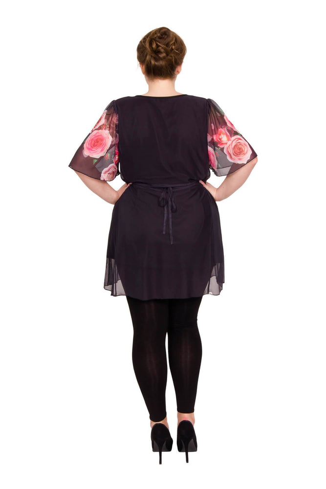 Scarlett & Jo Tops Black/Red/Pink / 10 Valentine Rose Print Angel Sleeve Top