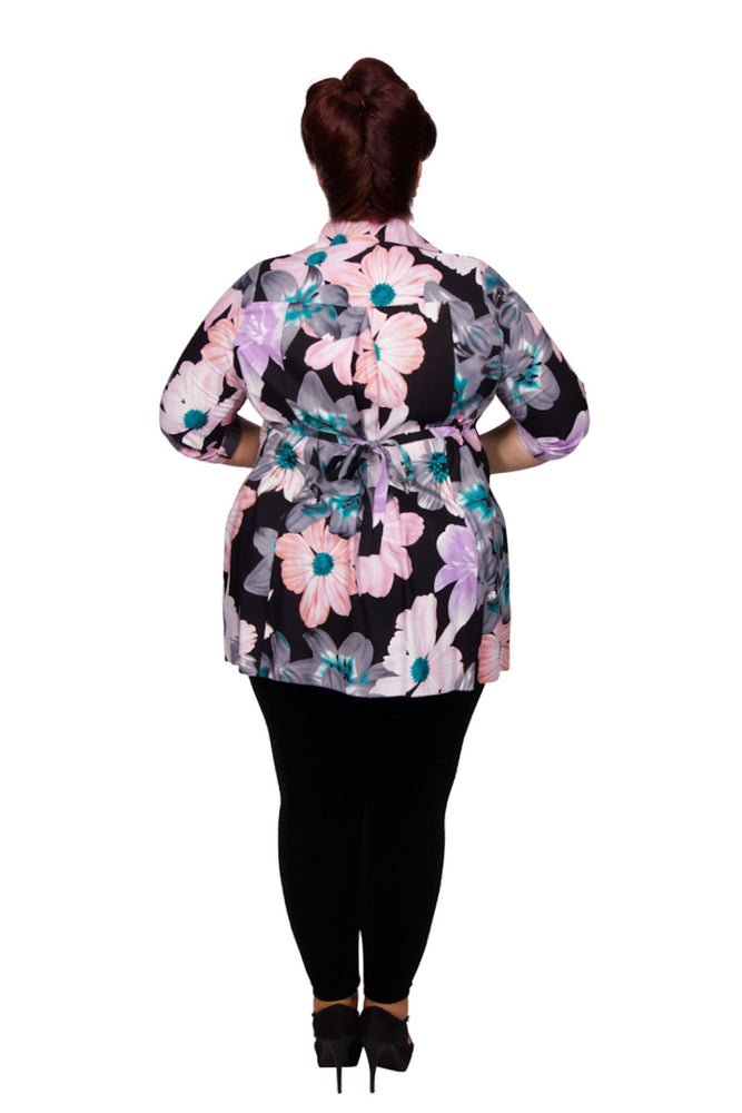 Scarlett & Jo Tops Black/Teal/Rose / 10 Tie Back Shirt