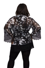 Scarlett & Jo Tops Black/White / 10 Lace Trim Kimono Tunic
