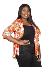 Oriental Orange Kimono Wrap Cover Up