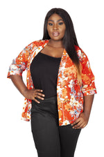 Scarlett & Jo Tops ORANGE / 10 Oriental Kimono Wrap Cover Up