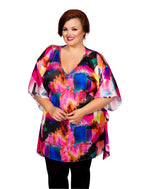 Scarlett & Jo Tops Pink Multi / 10 V Neck Scarf Tunic Top