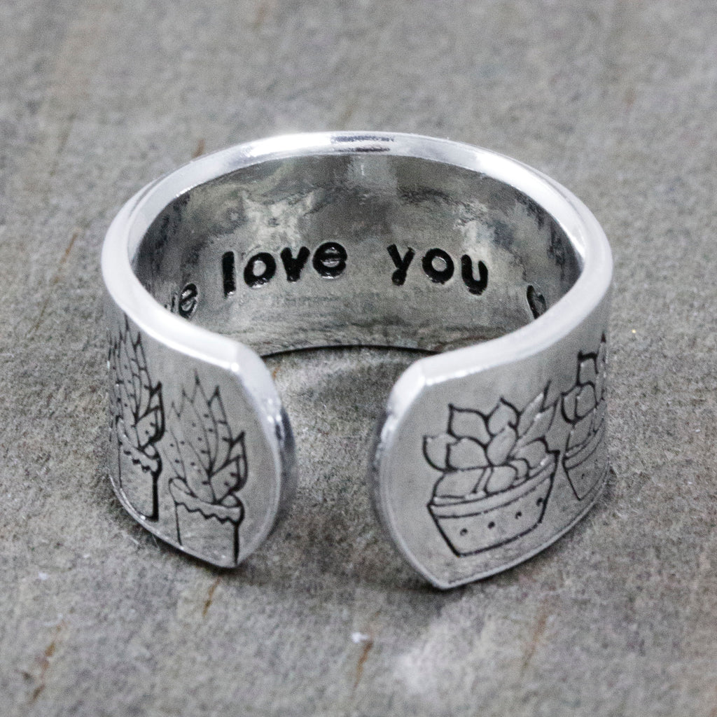 Succulent Garden Cuff Ring with Secret Message Inside
