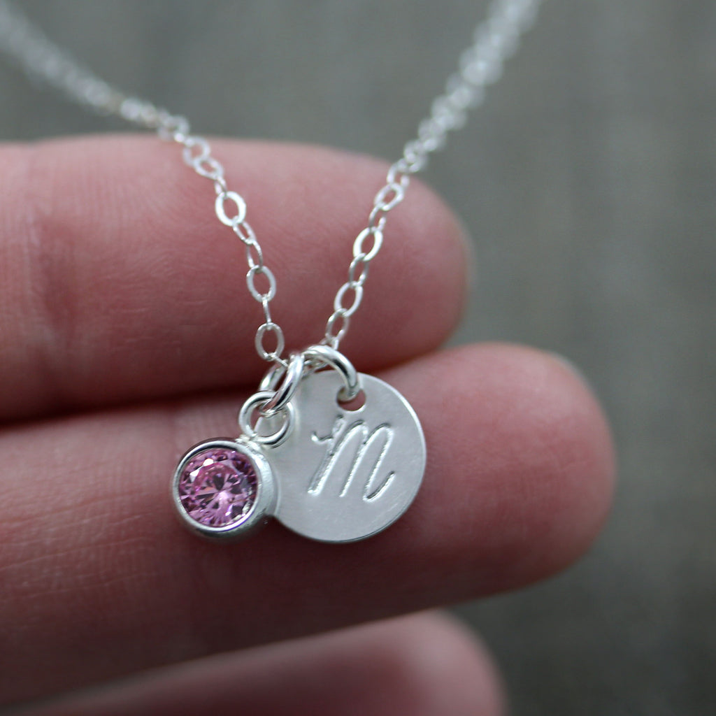 Mother's Initial Necklace with Birthstone Charm