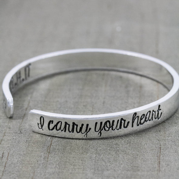 I carry your heart hand stamped cuff bracelet