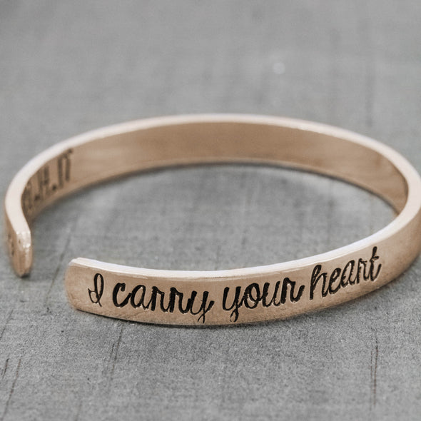 Rose gold memorial cuff bracelet - Sympathy gift for her
