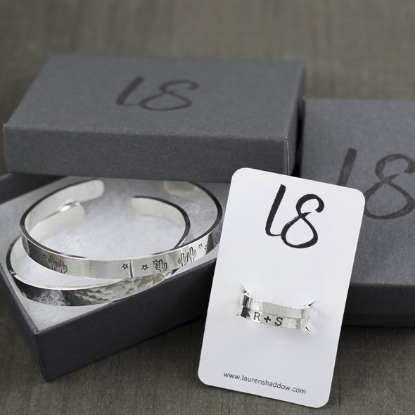 Lauren Shaddow Jewelry Gift Box with Sterling Silver Bracelets and Rings