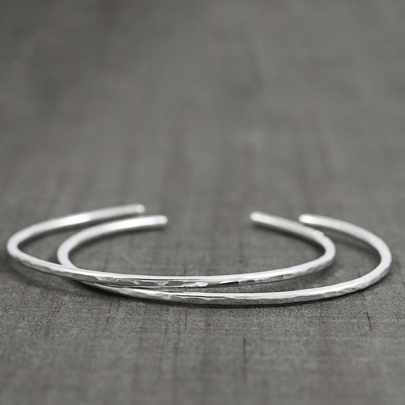 Two Silver Thin Bracelets - Lauren Shaddow Jewelry