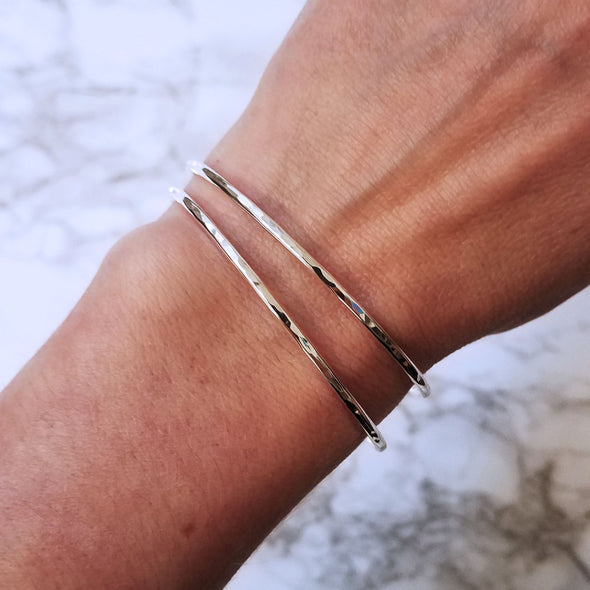 Thin Bracelets Shown on Model in Silver - Lauren Shaddow Jewelry