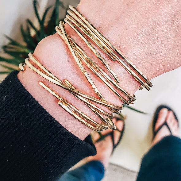 Stacked Minimalist Bracelets in 14K Gold - Lauren Shaddow Jewelry
