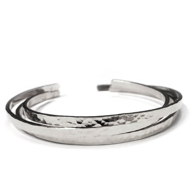 Hammered Sterling Silver Cuff Bracelet Set