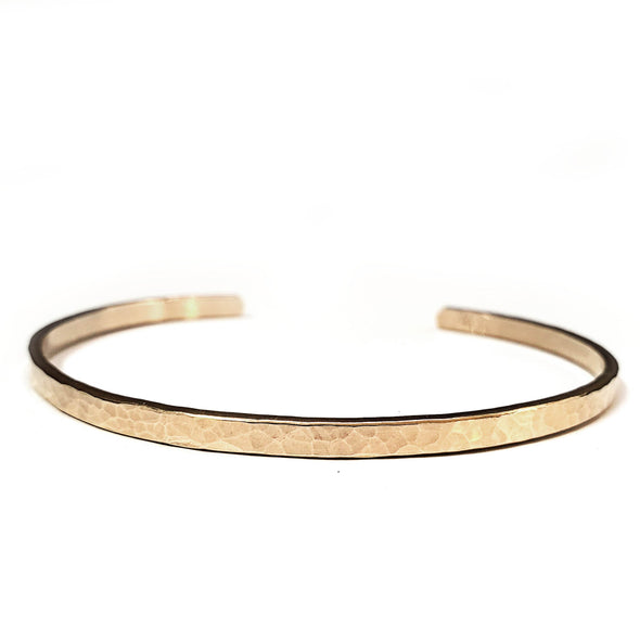 Dainty Hammered Cuff - Sterling Silver, 10K, 14K, or 18K Gold