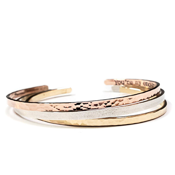 Mixed Metal Cuff Set - 14K or 18K Gold