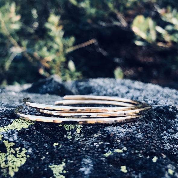 Three Minimalist Bracelets in 14K Gold - Lauren Shaddow Jewelry