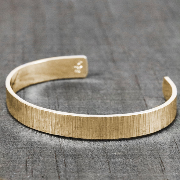 14K gold custom cuff bracelet for men with hammered texture