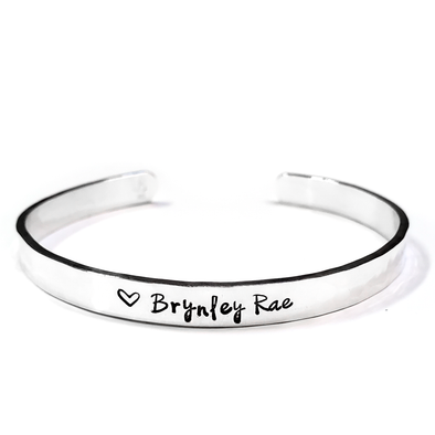 Personalized Name Cuff - Sterling Silver, 10K, 14K or 18K Gold