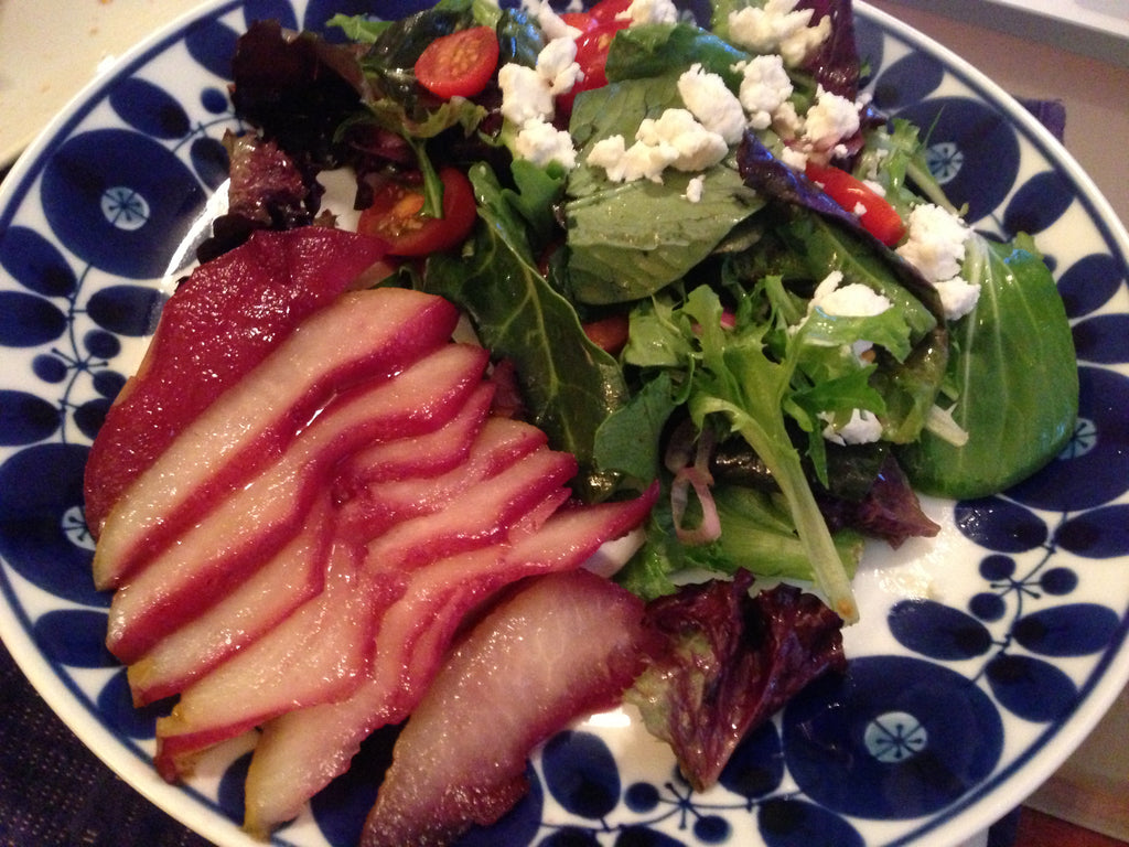 Sensibilitie food blog wine poached pear with goat cheese