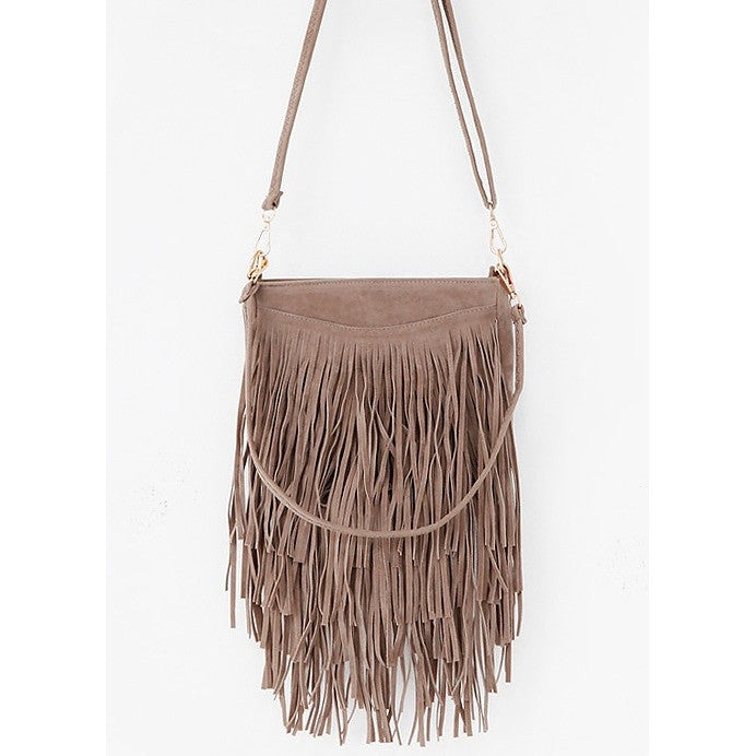 tiered fringe cross body bag