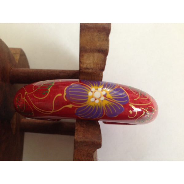 Hand Painted Bright Wood Bangle