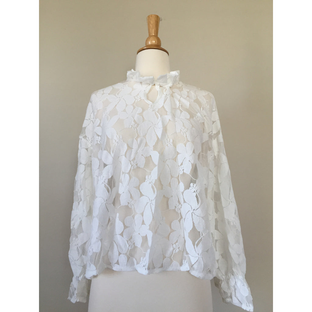 high neck lace blouse top