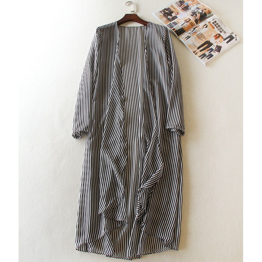 chiffon stripe long cardigan