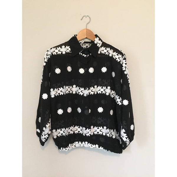 Black and White Embroidered Blouson