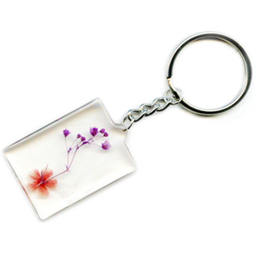 Compressed Flowers Glass Keychain Charms