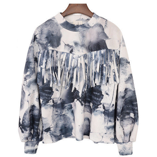 fringe watercolor sweatshirt